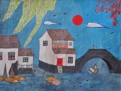 儿童风景画图片 江南之春儿童春天风景画图片欣赏