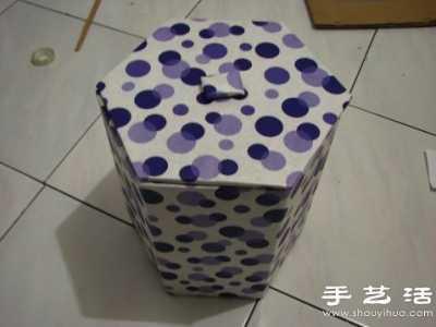 废纸箱利用 手工制作垃圾桶图解
