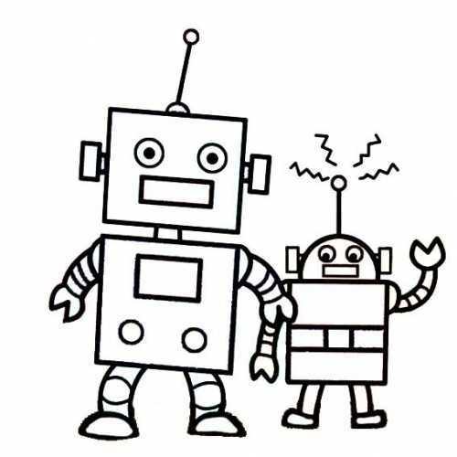 简笔画大白机器人_卡通简笔画 卡通机器人简笔画