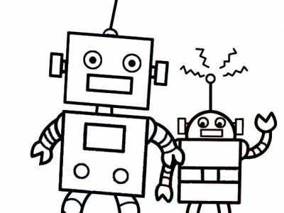卡通简笔画 卡通机器人简笔画