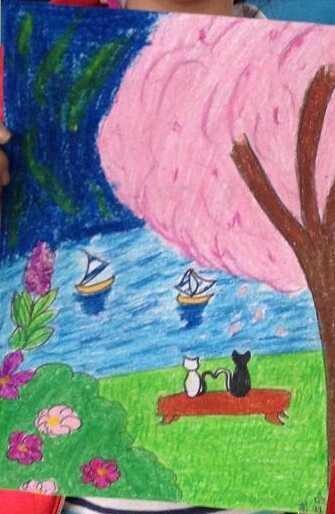 小学生蜡笔画作品 一起望月