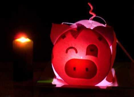 灯笼制作方法图解 小猪花灯灯笼手工制作方法图解教程