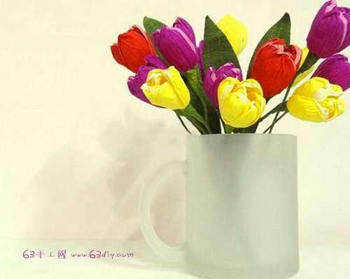 皱纹纸花的折法 郁金香纸花的折法图解